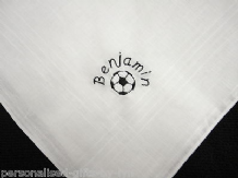 Personalised Handkerchief with Football design.